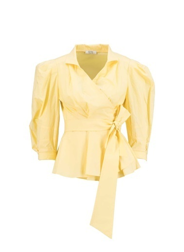 Setre Pembe Bağcık Detaylı Poplin Bluz Sarı